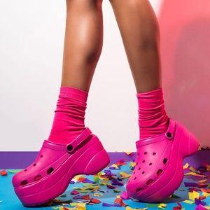 NEW🔥Waterproof Hot Pink Wedge Heel Sandal Clogs